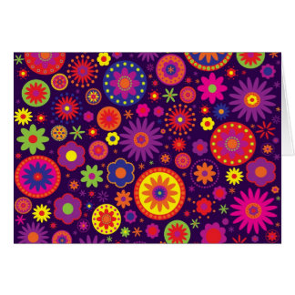 Hippie-lila Regenbogen-Blumen Karte