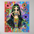 Hippie-Mädchen-Meerjungfrau-Plakat Poster