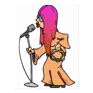 Hippie-Sänger mit dem rosa Haar Postkarte