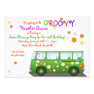Hippie Van Invitation Einladungen