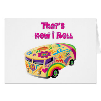 Hippiepackwagen Retro, wie ich rolle Grußkarte