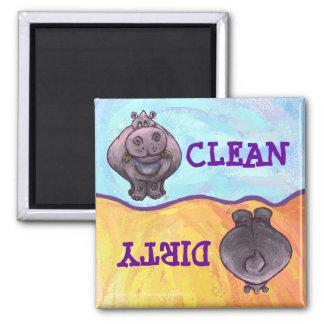 Hippopotamus-schmutziger/sauberer Quadratischer Magnet
