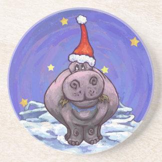 Hippopotamus-Weihnachten Getränke Untersetzer