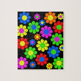 Hippy Blumen-Collage Puzzle