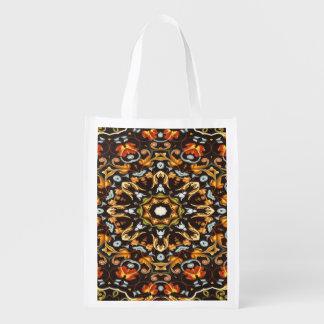 Hippy Chic Zendala Orange verlässt Blumenmandala Wiederverwendbare Einkaufstasche