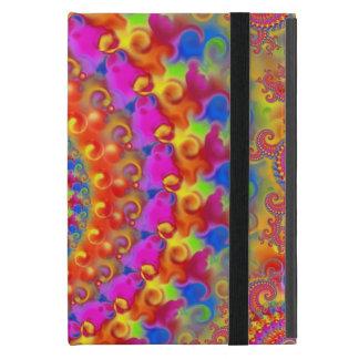 Hippy Fraktal-Muster-Rosa-Türkis u. Gelb Etui Fürs iPad Mini