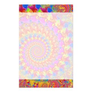 Hippy Fraktal-Muster-Rosa-Türkis u. Gelb Individuelle Druckpapiere
