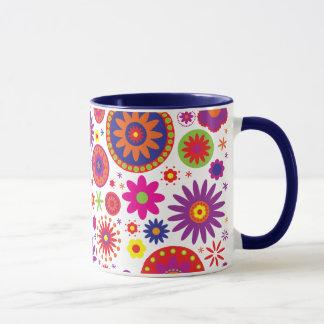 Hippy Regenbogen-Blumen Tasse