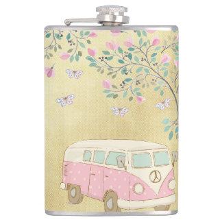 Hippy Van Butterflies und Blüten-Gold Flachmann