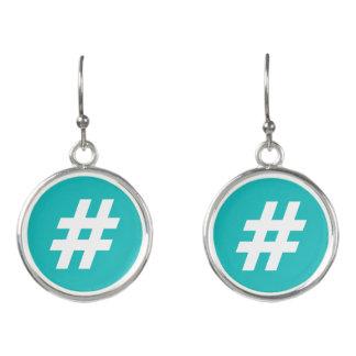 Hipstar Hashtag Blau-Ohrringe Ohrringe