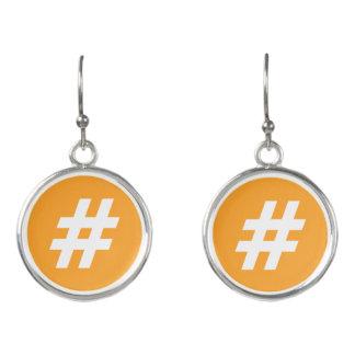 Hipstar Hashtag Orangen-Ohrringe Ohrringe