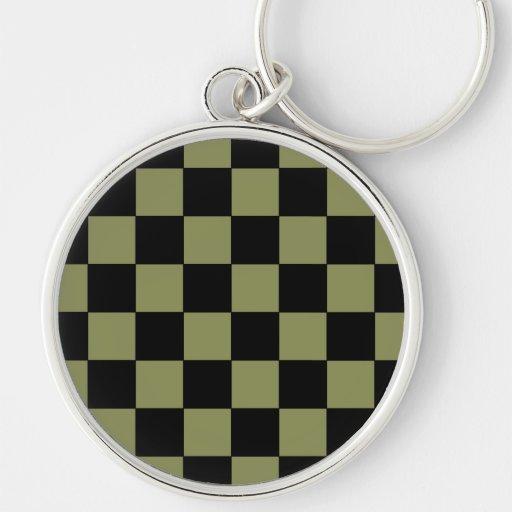 Hipster-Armee-Grün-Schachbrett-Schachbrett Schlüsselanhänger
