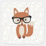 Hipster-BabyFox w/Glasses Quadrataufkleber