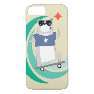 Hipster-Bär, der einen Skateboard reitet iPhone 8/7 Hülle