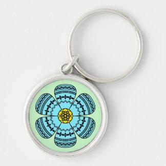 Hipster-Blume Keychain Silberfarbener Runder Schlüsselanhänger