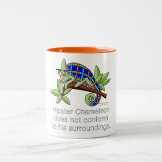 Hipster-Chamäleon-Tasse Zweifarbige Tasse