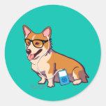 Hipster Corgi Stickers