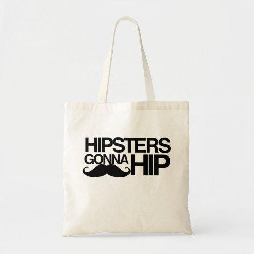 Hipster, die zu angesagtem Stache gehen Einkaufstasche