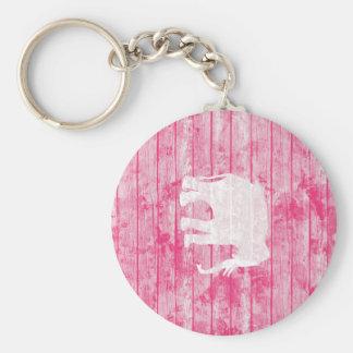 Hipster-Elefant-Muster-Rosa-Holz Schlüsselband