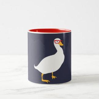 Hipster-Enten-Tasse Zweifarbige Tasse