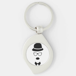 Hipster Face Metal Keychain