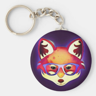 Hipster Fox Keychain -1 Standard Runder Schlüsselanhänger