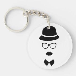 Hipster-Gesicht Keychain Einseitiger Runder Acryl Schlüsselanhänger
