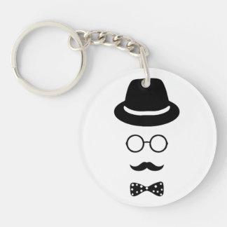 Hipster-Gesicht Keychain Schlüsselanhänger