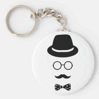 Hipster-Gesichts-Knopf Keychain Schlüsselanhänger