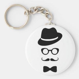 Hipster-Gesichts-Knopf Keychain Schlüsselband