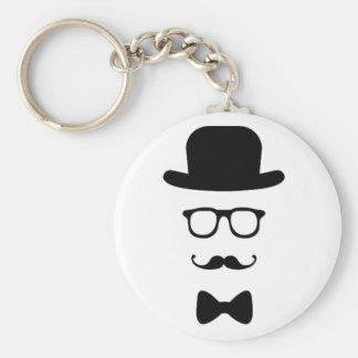 Hipster-Gesichts-Knopf Keychain Schlüsselbänder