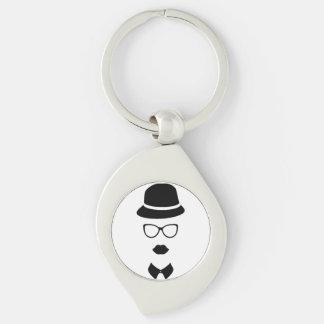 Hipster-Gesichts-Metall Keychain Silberfarbener Wirbel Schlüsselanhänger