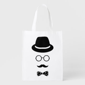 Hipster-Gesichts-wiederverwendbare Tasche Tragetaschen