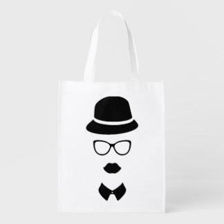 Hipster-Gesichts-wiederverwendbare Tasche Wiederverwendbare Einkaufstaschen