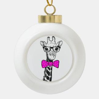 Hipster-Giraffe Keramik Kugel-Ornament
