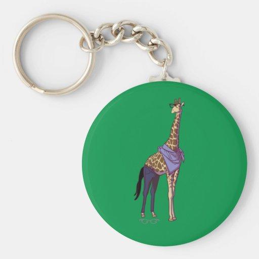 Hipster-Giraffe Keychain (ohne Text) Schlüsselbänder