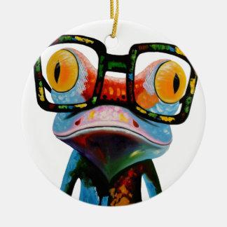 Hipster-Glas-Frosch Keramik Ornament