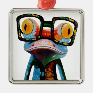 Hipster-Glas-Frosch Quadratisches Silberfarbenes Ornament