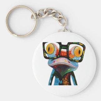 Hipster-Glas-Frosch Standard Runder Schlüsselanhänger
