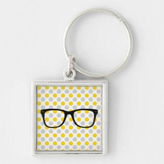 Hipster-Gläser Keychain Silberfarbener Quadratischer Schlüsselanhänger