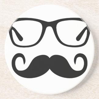 Hipster-Gläser u. Lenkstangen-Schnurrbart Getränkeuntersetzer