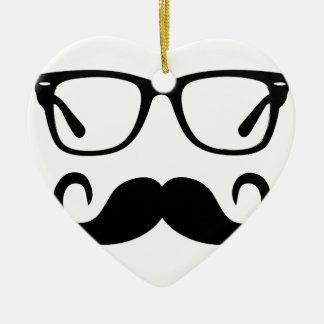 Hipster-Gläser u. Lenkstangen-Schnurrbart Keramik Ornament