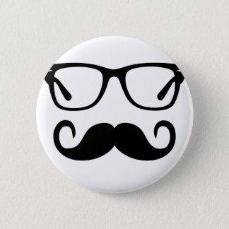 Hipster-Gläser u. Lenkstangen-Schnurrbart Runder Button 5,7 Cm