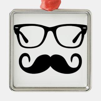 Hipster-Gläser u. Lenkstangen-Schnurrbart Silbernes Ornament