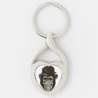 Hipster-Gorilla Silberfarbener Herz Schlüsselanhänger