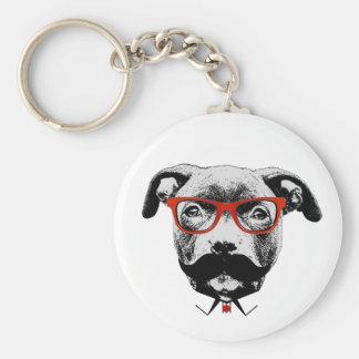 Hipster-Gruben-Stier-Terrier Standard Runder Schlüsselanhänger