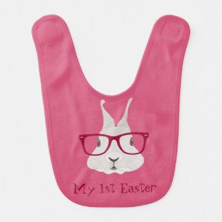 Hipster-Häschen-erste Ostern-Baby-Schellfische Lätzchen