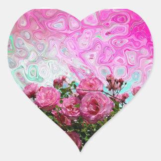 Hipster-heißes Rosa-Blumenphantasie-Herz-Förmiger Herz-Aufkleber