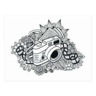 Hipster-Kamera-Gekritzel Postkarte