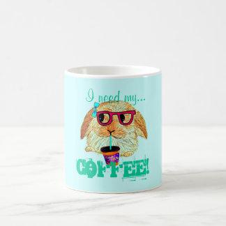 Hipster-Kaninchen mit Kaffee Tasse